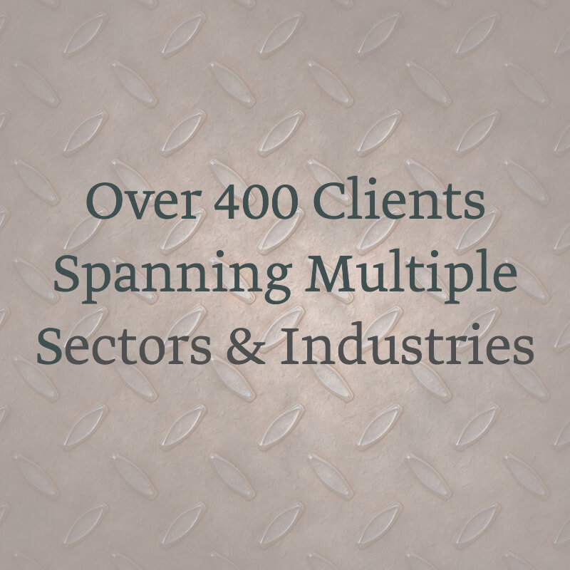 SLMD Homepage Infographic - 400 Clients in Multiple Sectors and Industries